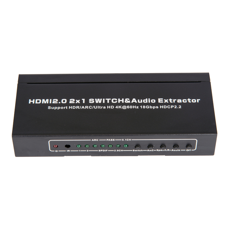 HDMI2.0V 2x1 Switcher With Audio Extractor(3D Ultra HD 4Kx2K@60Hz)